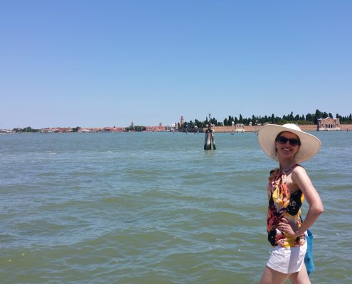 Nicole on the canals in venice