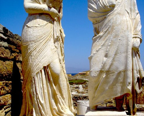 Sculpture on the island of Delos, Greece. Cleopatra and Dioscorides, wife and husband.