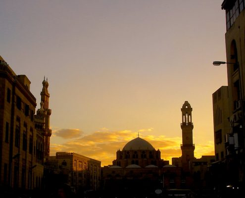 Al-Azhar Mosque near Khan El-Khalili Market in Cairo, Egypt at dusk